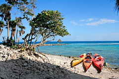 Kajaker på en strand Fotografering för Bildbyråer