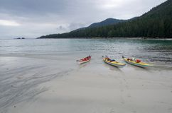 Kajaker på stranden på den Brookes halvön Arkivbilder