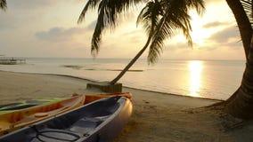 Kajaker på stranden på soluppgång arkivfilmer