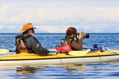 Kajakfotografi Alaska arkivfoton