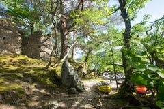 Kajaki i kasztel na Inveruglas wyspie Zdjęcie Royalty Free