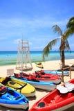 Kajaki na plaży Fotografia Royalty Free