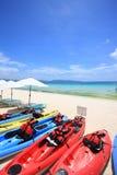 Kajaki na plaży Obraz Stock