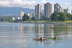 Kajaki na Vancouver ` s angielszczyzn zatoce Zdjęcie Stock