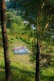 Kajaki, rzeka i las, Obrazy Royalty Free