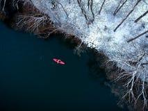 Kajaking en invierno Foto de archivo libre de regalías