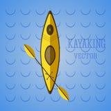 Kajakowy ikona wektor Kajak na błękitnych fala Lato odznaka i ikona Campingowa ilustracja Zdjęcie Stock