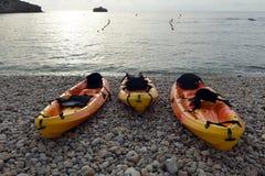 Kajaks on the beach Stock Images