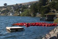Kajaks bij de rand die van het water worden vastgelegd Stock Foto