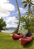 Kajaks del océano en la bahía de Kaneohe, Hawaii Foto de archivo libre de regalías