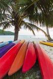Kajaks onder kokospalmen Stock Afbeeldingen