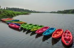 Kajaks in rivier Royalty-vrije Stock Foto