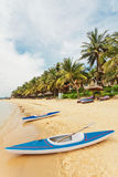 Kajaks am tropischen Strand stockfotografie
