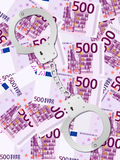 Kajdanki na pięćset euro tle Zdjęcie Royalty Free