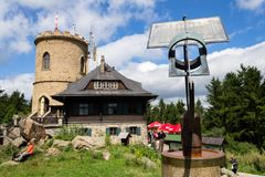 People on the oldest Czech stone lookout tower - Josefs lookout tower at Mount Klet in Blansky forest Stock Photos