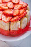 Kaka Charlotte med jordgubbar Arkivfoto