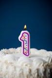 Kaka: Födelsedagkaka med stearinljus för den 1st födelsedagen Royaltyfria Foton