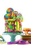 Kaka för droppande för fantasi för Mardi Gras temapå-trend candyland arkivbild