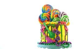 Kaka för droppande för fantasi för Mardi Gras temapå-trend candyland arkivfoto