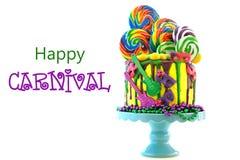 Kaka för droppande för fantasi för Mardi Gras temapå-trend candyland royaltyfri foto