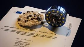 Kaka för EU för EPrivacy GDPR Europa lag DSGVO Arkivbilder