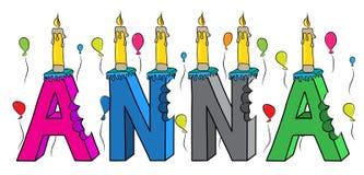Kaka för födelsedag för Anna kvinnligt förnamn biten färgrik bokstäver 3d med stearinljus och ballonger stock illustrationer