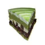 Kaka för grönt te och nisseostkaka arkivfoto