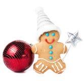Kaka för jul för pepparkakaman med jultomtenhatten, magisk pinne och Royaltyfri Bild