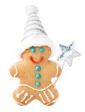Kaka för jul för pepparkakaman med jultomtenhatten och den magiska pinnen Royaltyfri Foto