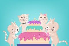 Kaka för lycklig födelsedag, gullig kattungefamiljberöm, konfetti som faller för partiet, förtjusande djur, katttecknad filmtecke stock illustrationer