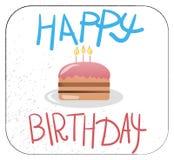 Kaka för lycklig födelsedag med candels royaltyfri illustrationer