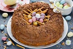 Kaka för rede för påskägg royaltyfri foto