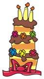 Kaka för tre våning med stearinljus Royaltyfri Fotografi