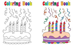 Kaka för födelsedag för färgläggningbok Arkivfoton
