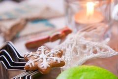 Kaka i form av snöflingor Fotografering för Bildbyråer