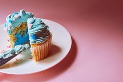 Kaka med blåttkräm inom royaltyfri foto