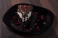 Kaka med chocholate och pomenarange Royaltyfria Bilder