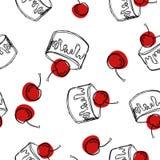 Kaka med den körsbärsröda sömlösa modellen Söt efterrätt för kaka för ferie också vektor för coreldrawillustration royaltyfri illustrationer