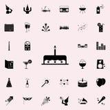 kaka med en stearinljussymbol Festa den universella uppsättningen för symboler för rengöringsduk och mobil stock illustrationer