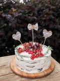 Kaka med hjärtor Royaltyfria Bilder