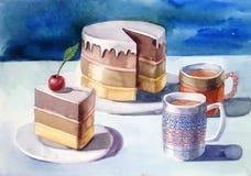 Kaka med körsbäret och två koppar vektor illustrationer