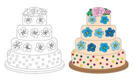 Kaka med kräm- blommor vektor illustrationer