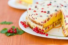 Kaka med kräm- och röda vinbär Fotografering för Bildbyråer