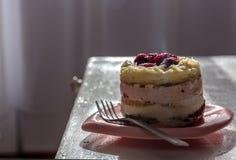 Kaka med kräm- och vit choklad för hallon, med geléhallon i rosa färgplatta royaltyfri bild