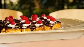 Kaka med ny hallon och choklad Gourmet- hemlagad syrlig paj f?r hallon royaltyfria foton