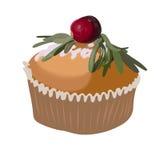 Kaka med sockerpouder Beståndsdel för vektorsymbolsdesign Födelsedagillustration Arkivfoton