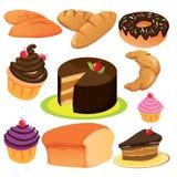 Kaka- och brödsamling stock illustrationer