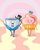 Kaka och kaffe Royaltyfri Illustrationer