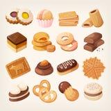 Kaka- och kexsymbolsuppsättning stock illustrationer