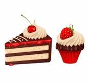 Kaka och muffin royaltyfri illustrationer